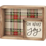 Holiday Plaid Design Oh What Joy Decorative Double Inset Wooden Box Sign 8x6 from Primitives by Kathy