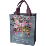 Colorful Floral Bouquet Design Start Your Day With Positive Thoughts Daily Tote Bag from Primitives by Kathy