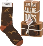 Dog Lover I Just Want All The Dogs Decorative Wooden Box Sign & Sock Set from Primitives by Kathy