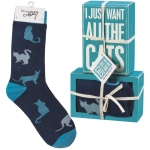 Cat Lover I Just Want All The Cats Decorative Wooden Box Sign & Sock Set from Primitives by Kathy