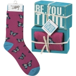 Butterfly Design Be You Tiful Decorative Wooden Box Sign & Sock Set from Primitives by Kathy