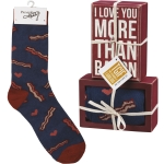 I Love You More Than Bacon Decorative Wooden Box Sign & Sock Set from Primitives by Kathy