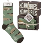 Sloth Design No Hurries No Worries Decorative Wooden Box Sign & Sock Set from Primitives by Kathy