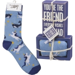Unicorn Design You're The Friend Everyone Wishes They Had Decorative Sign & Sock Set from Primitives by Kathy