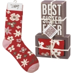 Floral Design Best Sister Ever Decorative Wooden Box Sign & Sock Set from Primitives by Kathy