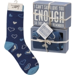 Heart Design ICan't Say I Love You Enough Decorative Wooden Box Sign & Sock Set from Primitives by Kathy