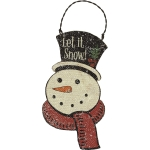 Let It Snow Snowman In Top Hat Wooden Hanging Christmas Ornament 5 Inch from Primitives by Kathy