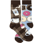 Coffee & Donuts Colorfully Printed Cotton Socks from Primitives by Kathy