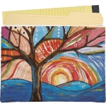 Brightly Colored Tree & Sun Double Sided Zipper Folder Pouch from Primitives by Kathy