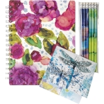 Colorful Alcohol Ink Design Notebook Stationery & Pencil Set from Primitives by Kathy