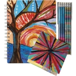 Colorful Abstract Artwork Design Notebook Stationery & Pencil Set from Primitives by Kathy