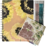 Watercolor Botanical Design Notebook Stationery & Pencil Set from Primitives by Kathy