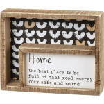 Home The Best Place To Be Good Energy Decorative Double Inset Wooden Box Sign 7.5 Inch x 6 Inch from Primitives by Kathy
