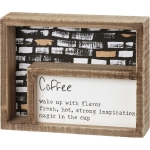 Coffee Magic In The Cup Decorative Double Inset Wooden Box Sign 7.5 Inch x 6 Inch from Primitives by Kathy