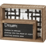 Dreams Visions To Embrace Decorative Double Inset Wooden Box Sign 7.5 Inch x 6 Inch from Primitives by Kathy