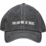 You Had Me At Tacos Black & White Cotton Baseball Cap from Primitives by Kathy
