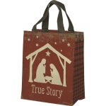 Manger Nativity Scene True Story Daily Tote Bag from Primitives by Kathy