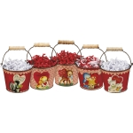 Set of 5 Retro Themed Valentine's Day Animal Design Metal Buckets from Primitives by Kathy