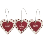 Set of 3 Rustic Heart Shaped Hanging Ornament Signs (Love & XOXO & I Love Us) from Primitives by Kathy