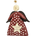 Heart Print Dress Friends Till The End Wooden Angel Figurine 4 Inch x 6 Inch from Primitives by Kathy