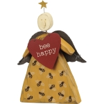 Bumblebee Dress Bee Happy Wooden Angel Figurine 4x6 from Primitives by Kathy