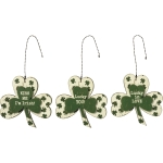 Set o3 Shamrock Shaped Hanging Wooden Ornament Signs (Kiss Me I'm Irish & Lucky You & Love) from Primitives by Kathy