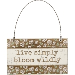 Floral Design Live Simply Bloom Wildly Hanging Wooden Ornament Sign 5x3 from Primitives by Kathy
