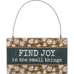 Rustic Floral Design Find Joy In The Small Things Hanging Wooden Ornament Sign 5x3 from Primitives by Kathy