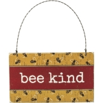 Rustic Bumblebee Design Bee Kind Decorative Hanging Wooden Ornament Sign 5x3 from Primitives by Kathy