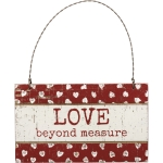 Heart Design Love Beyond Measure Rustic Hanging Wooden Ornament Sign 5x3 from Primitives by Kathy