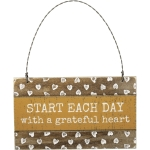 Rustic Heart Design Start Each Day With A Grateful Heart Hanging Wooden Ornament Sign 5x3 from Primitives by Kathy