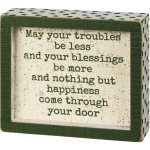 Shamrock Design May Your Troubles Be Less May Your Blessings Be More Decorative Inset Wooden Box Sign from Primitives by Kathy