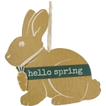 Bunny Rabbit Shaped Hello Spring Hanging Wooden Wall Décor Sign 14 Inch from Primitives by Kathy