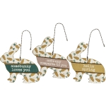 Set of 3 Bunny Rabbit Shaped Hanging Wooden Ornament Signs (Loves You & Nobunny Compares & Hello Spring) from Primitives by Kathy