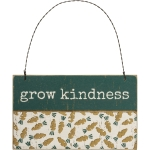 Debossed Carrot Print Design Grow Kindness Hanging Wooden Ornament Sign 5x3 from Primitives by Kathy