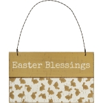 Debossed Bunny Design Easter Blessings Hanging Wooden Ornament Sign 5x3 from Primitives by Kathy