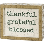 Rustic Thankful Grateful Blessed Decorative Inset Wooden Box Sign 6x5 from Primitives by Kathy