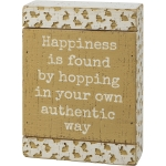 Debossed Bunny Design Happiness Is Found Hopping Your Own Way Slat Wood Box Sign 5x7 from Primitives by Kathy