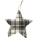 Set of 10 Black & White Plaid Star Shaped Cotton Christmas Ornament 2.5 Inch from Primitives by Kathy
