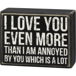 I Love You Even More Than I Am Annoyed By You Decorative Wooden Box Sign 4.25 Inch from Primitives by Kathy