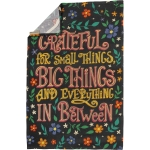 Colorful Floral Print Grateful For Small Things Big Things & Everything Cotton Kitchen Dish Towel from Primitives by Kathy