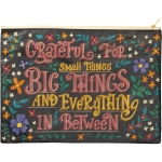 Vibrant Floral Design Grateful For Small Things & Big Things Zipper Folder Handbag from Primitives by Kathy