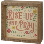 Vibrant Floral Design Rise Up And Pray Decorative Inset Wooden Box Sign 6x6 from Primitives by Kathy