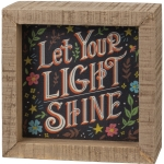 Vibrant Floral Design Let Your Light Shine Decorative Inset Wooden Box Sign 4x4 from Primitives by Kathy