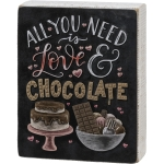Chalk Art Design All You Need Is Love & Chocolate Decorative Wooden Box Sign 4.75 Inch x 6 Inch from Primitives by Kathy