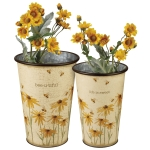 Set of 2 Coneflower Design Metal Buckets (Life Is Sweet & Bee-u-tiful) from Primitives by Kathy