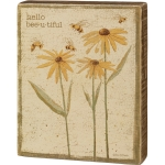 Rustic Flower & Bee Design Hello Bee-u-tiful Decorative Wooden Block Sign 4x5 from Primitives by Kathy