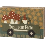 Gnome In Mushroom Farm Pickup Truck Decorative Wooden Box Sign 8 Inch x 5.5 Inch from Primitives by Kathy