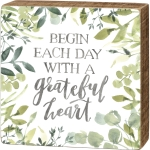 Botanical Greenery Design Begin Each Day With A Grateful Heart Decorative Wooden Box Sign 5x5 from Primitives by Kathy