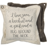 Double Sided I Love You A Bushel & A Peck Decorative Canvas Throw Pillow 18x18 from Primitives by Kathy